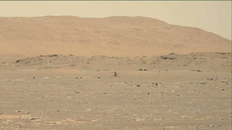 Hi-res footage of Mars helicopter take off, fly, and land